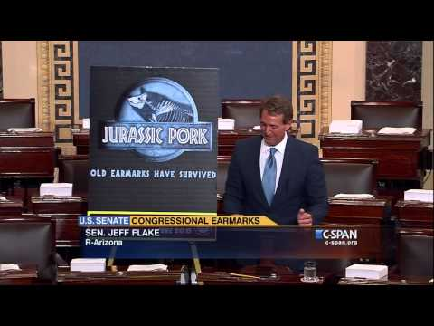 "Senator Jeff Flake (R-AZ) ""Jurassic Pork"" floor speech. (C-SPAN)"