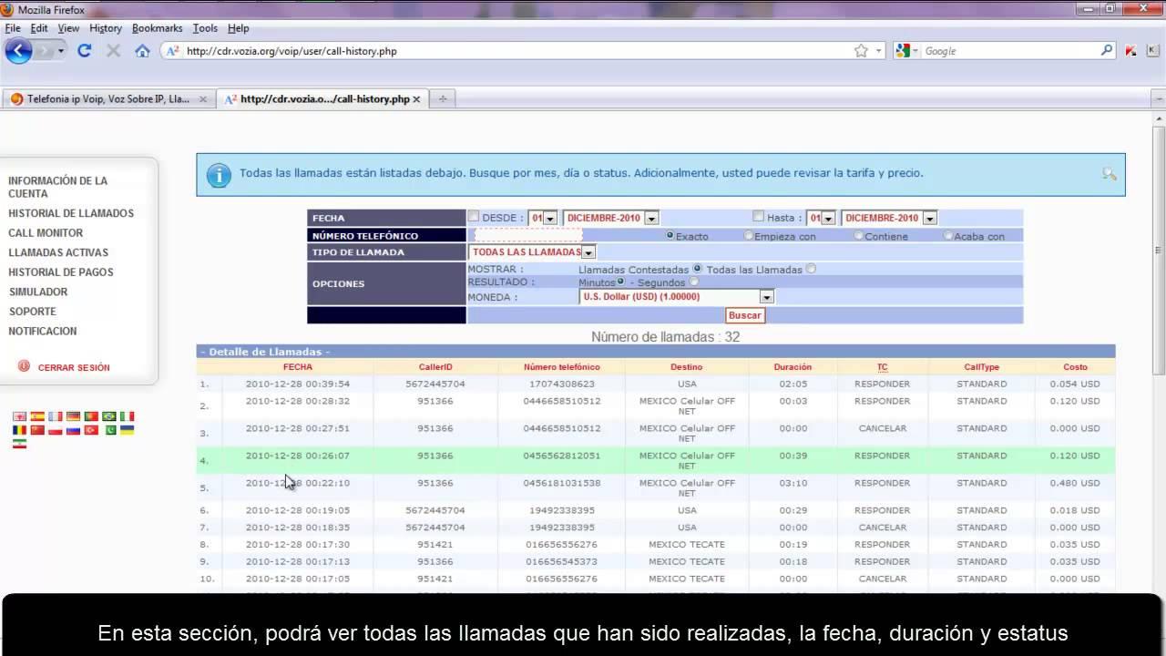 historial y monitoreo de llamadas youtube