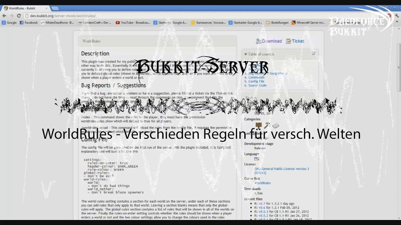 BukkitServerMinecraftServer AZ WorldRules Verschiedene - Minecraft server regeln erstellen
