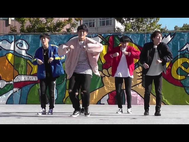 K-POP、防弾少年団のコピーダンスを踊るイケメン男子大学生。