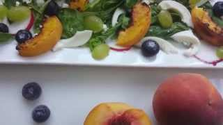 Spinach Salad With Grilled Peaches.