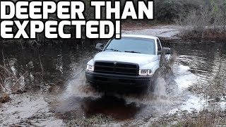 CUMMINS 4x4 BOOSTED LAUNCH out of MUDDY RIVER!
