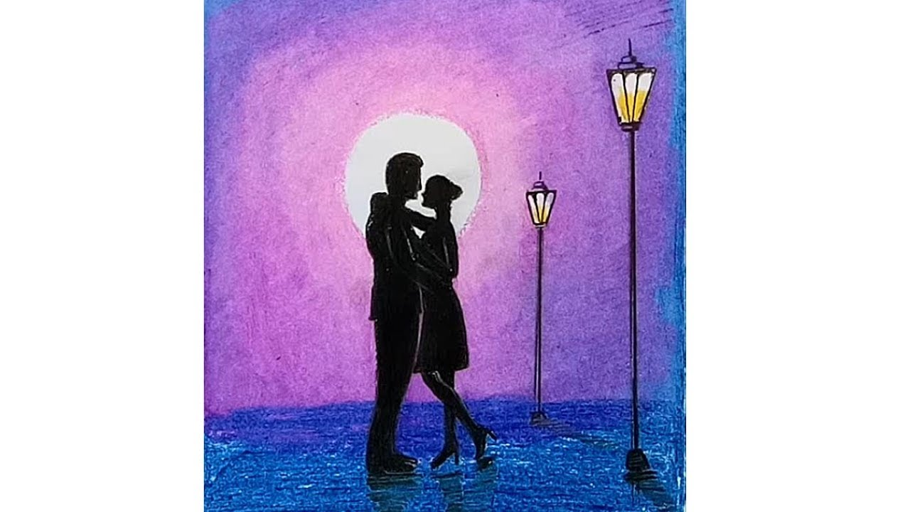 How to draw scenery of romantic couple at Moonlit night ...