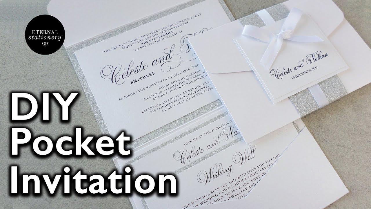 How to make your own modern pocket folio wedding invitations diy how to make your own modern pocket folio wedding invitations diy invitation youtube solutioingenieria
