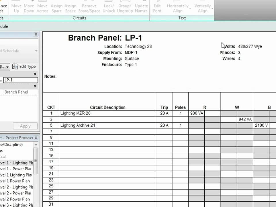 revit mep 2012 tutorial electrical systems panel schedules youtube