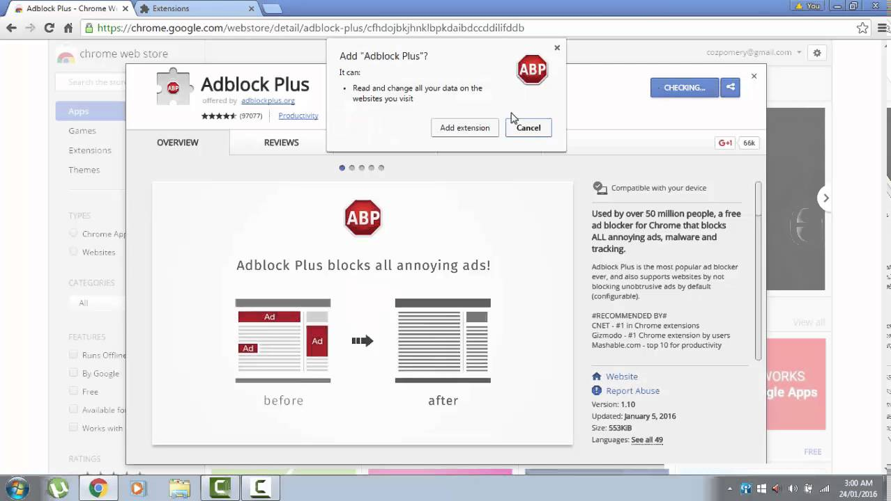 Block all ads google chrome (adblock plus) 2016