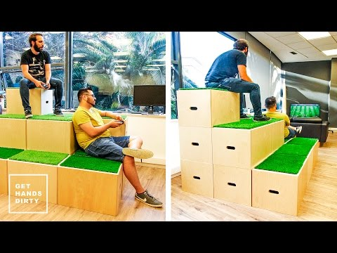 Stackable Boxes With Grass Tops to Play FIFA
