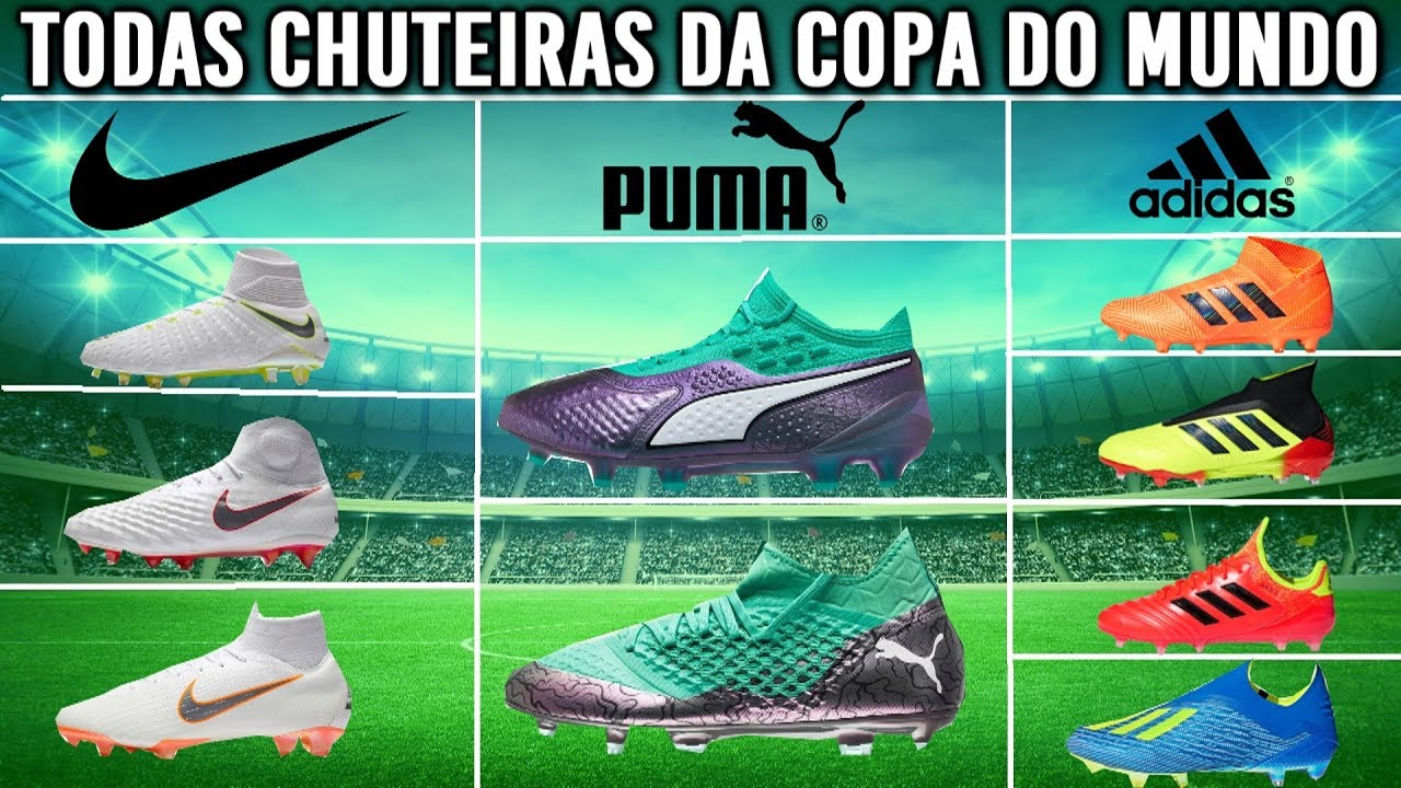 TODAS CHUTEIRAS DA COPA DO MUNDO!!! NIKE PUMA E ADIDAS - YouTube 31232d897daf5