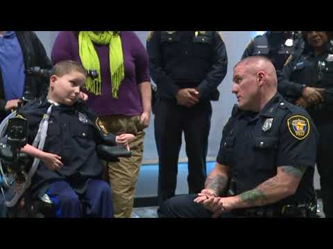 Child with rare disorder gets wish granted to be a police officer