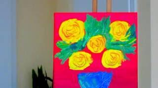 Рисуем вместе. Мастихин.Акрил Техника Как рисовать акрилом Уроки живописи и рисования. Розы.