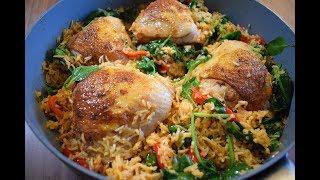 Курочка с ароматным рисом на сковороде!