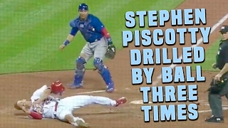 Stephen Piscotty Drilled By Ball THREE TIMES in One Trip Around Bases, Leaves Game