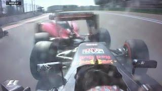 F1 2016 Russian GP Daniil Kvyat Hit Sebastian Vettel Two Times in the Race onboard