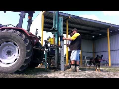 Australian Concrete Posts ACP are easily driven in with Tractor with post driver.