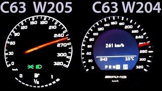 Mercedes C63 AMG W205 vs C63 AMG W204 0-250 Acceleration Sound V8 Onboard Autobahn