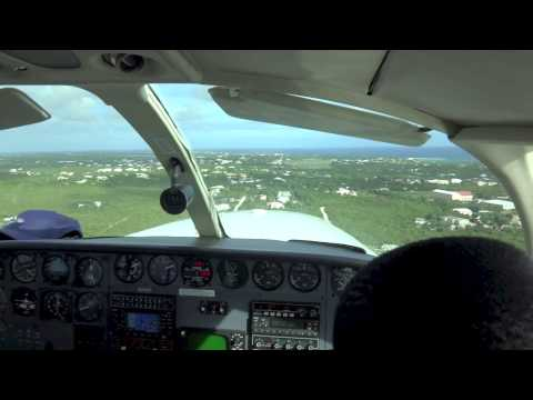 Landing in Anguilla in Twin Cessna