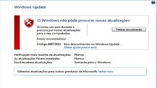 Windows update erro 80072EE2 Correção