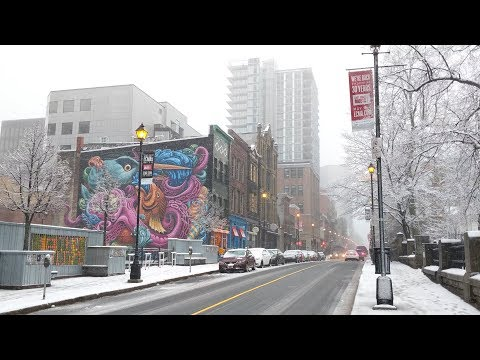Downtown Halifax during snowfall