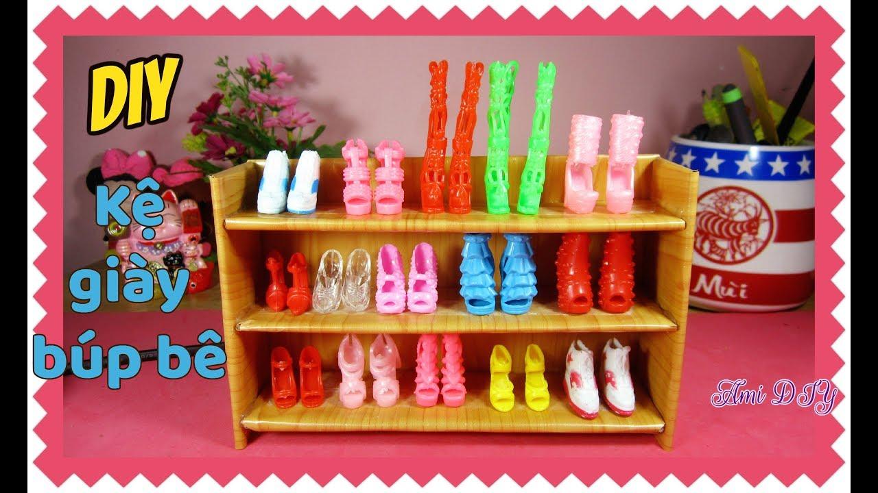 How to make A Doll Shoe Rack / Cách làm kệ giày cho búp bê / Ami DIY