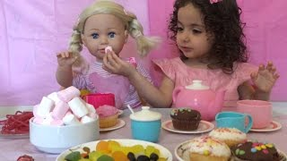 Baby Born Dolls Have A Tea Party - Chocolate Cupcakes, Candy and More