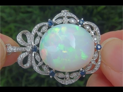 Gia certified natural ethiopian opal blue sapphire diamond 18k gia certified natural ethiopian opal blue sapphire diamond 18k pendant brooch necklace c836 mozeypictures Choice Image