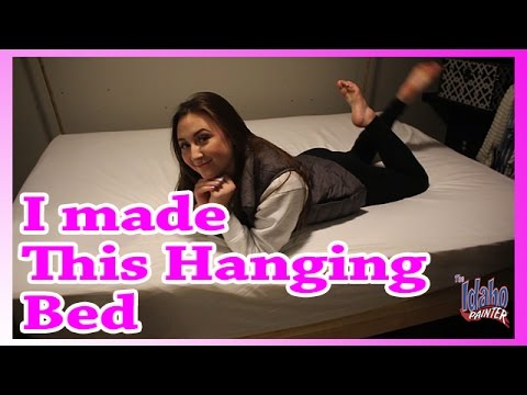HANGING BED.  How to make a bed that hangs from a ceiling.  Making a swinging bed.