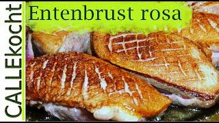 Knusprige Entenbrust rosa braten und richtig zubereiten.  Rezept mit Orangen
