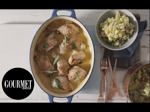 Lemon & mustard chicken with crushed herb potatoes | Gourmet Traveller