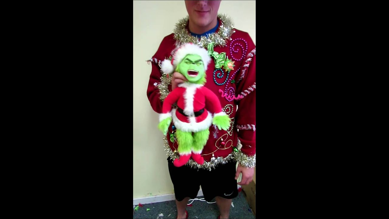 talking light up grinch ugly christmas sweater mens xlt for sale youtube - Grinch Ugly Christmas Sweater