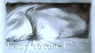 TORNADO hurricane drawing in graphite pencil easy tutorial for beginners