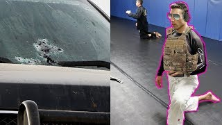 this cop shot 70 rounds through his own windshield