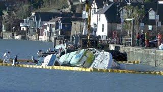 French Fishing Boat Sunk 10 French fishermen trapped inside boat. Dartmouth U.K.