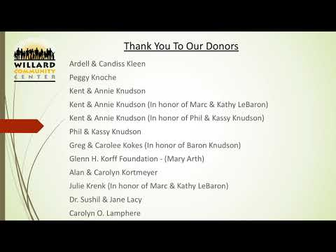 Willard Community Center Donors