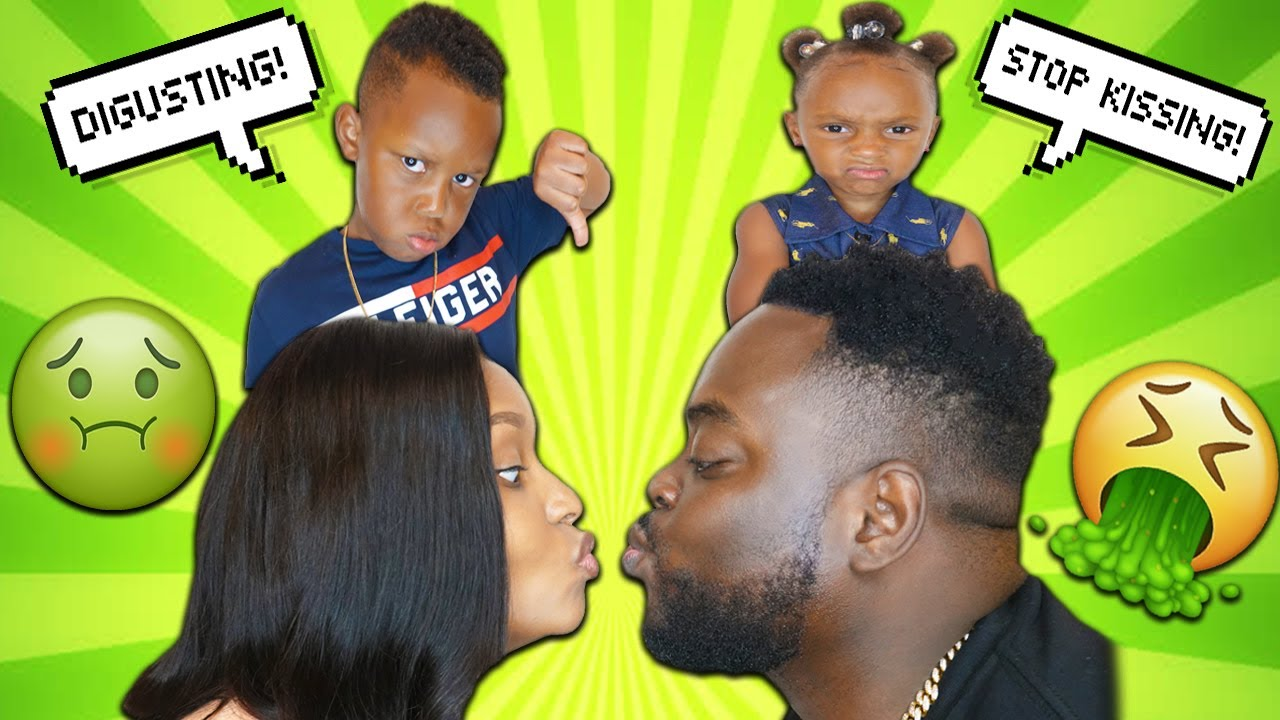 KISSING IN FRONT OF OUR KIDS TO SEE HOW THEY REACT *hilarious reaction*