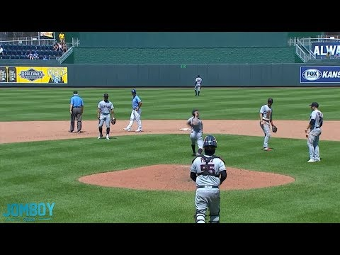 Trevor Bauer throws ball over centerfield wall after a rough 5th inning, a breakdown
