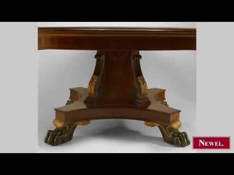 Antique English Regency mahogany round dining table with