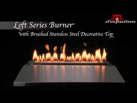 Empire Loft Burner with Stainless Steel Top Live Burn Video - eFireplaceStore.com