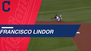 Francisco Lindor lays out for diving stop to rob Tommy La Stella