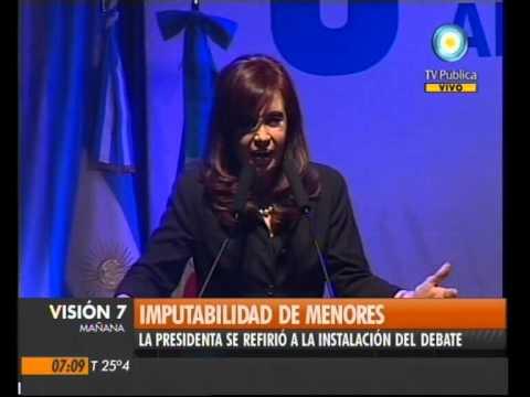Visión Siete: Cristina Fernández, sobre la imputabilidad de menores