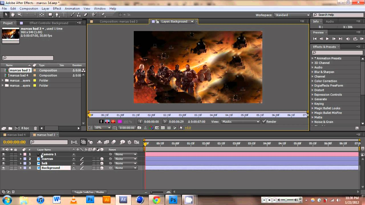 Adobe after effects cs5 2d images to 3d layers tutorial for Habitacion 3d after effects