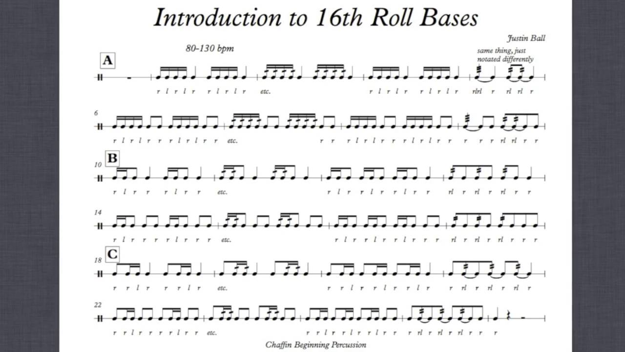 intro to 16th note roll bases snare drum exercise w sheet music youtube. Black Bedroom Furniture Sets. Home Design Ideas