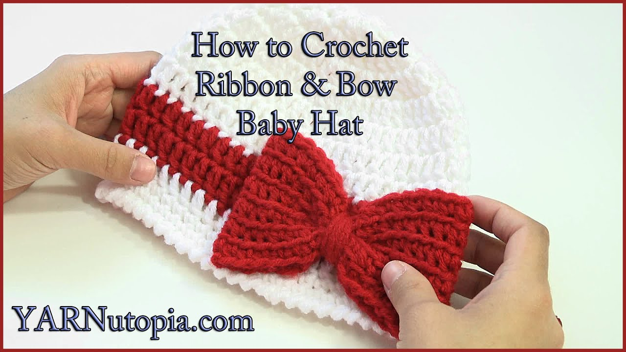 087fc8cb716cbf How to Crochet a Ribbon and Bow Baby Hat - YouTube