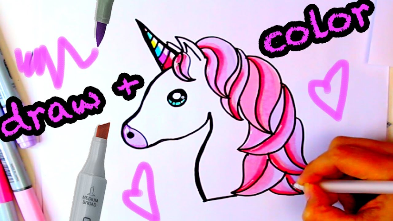 How To Draw Color A Unicorn Emoji Easy Draw And Color Youtube