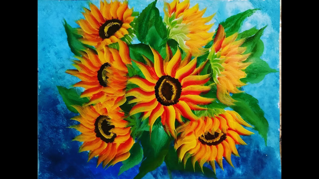 EASY Sunflower Painting Tutorial for Beginners..//Free ...