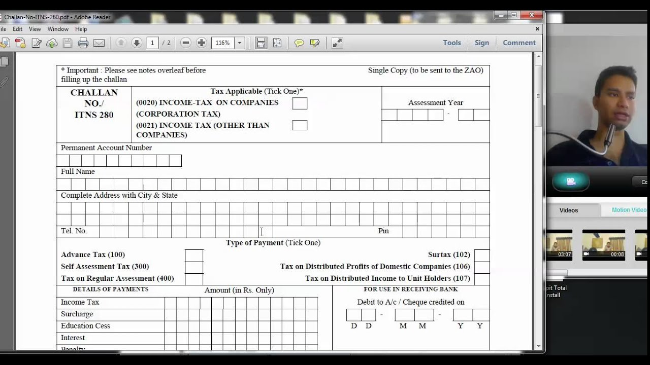 432 (Income tax ) How to fill Income tax Challan 280 for payment of advance  tax ( Hindi)