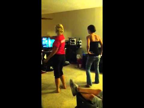 Danielle and Cheryl playing just dance