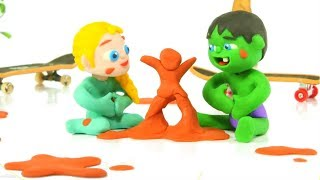 SUPERHERO BABIES PLAING WITH MUD ❤ SUPERHERO PLAY DOH CARTOONS FOR KIDS