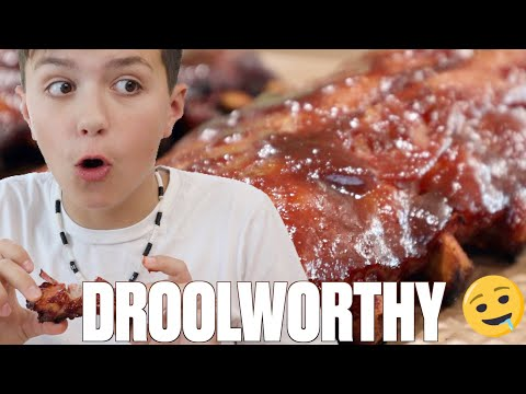 TRY NOT TO EAT OR DROOL FOOD CHALLENGE   FAMILY VS BBQ SMOKED RIBS   IMPOSSIBLE