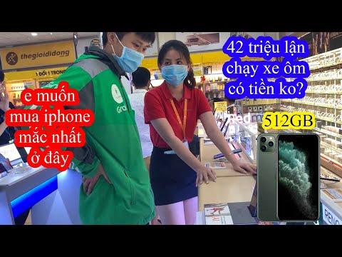 Thử Thách Mặc Áo Grabike Vào Thế Giới Di Động Mua Iphone 11 Pro Max 512GB Và Cái Kết   GoGo TV