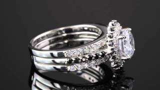 3.12 TCW Cubic Zirconia Vintage-Style Halo Jacket Bridal Ring Set In Platinum Over Sterling Silver